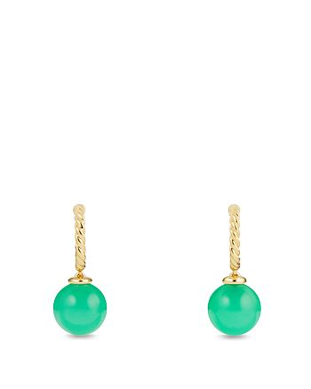 David Yurman - Solari Hoop Earrings with Chrysoprase in 18K Gold