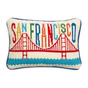 Jonathan Adler San Francisco Jet Set Needlepoint Decorative Pillow, 9 x 12