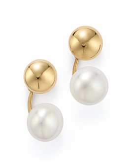 Bloomingdale's - 14K Yellow Gold Ear Jackets with Cultured Freshwater Pearls - 100% Exclusive