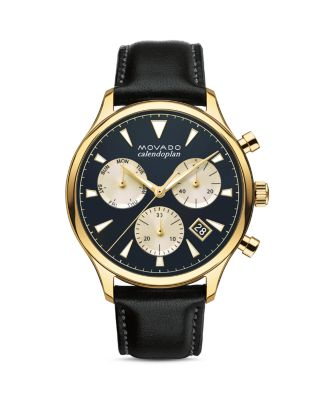 'Heritage' Chronograph Leather Strap Watch, 43Mm, Black/ Blue