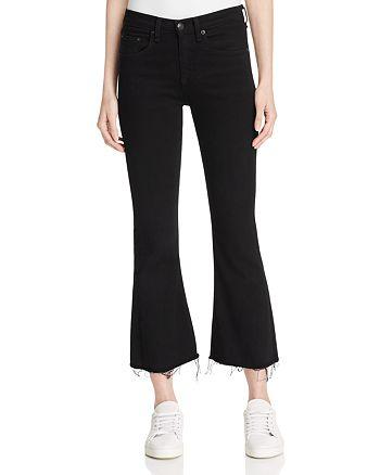 rag & bone/JEAN - Crop Flare Jeans in Black Coal