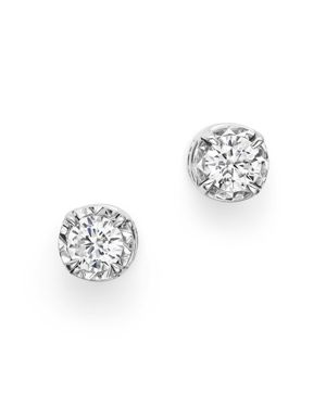 Diamond Solitaire Stud Earrings in 14K White Gold, .35 ct. t.w. - 100% Exclusive