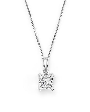 Bloomingdale's - Diamond Princess-Cut Solitaire Pendant Necklace in 14K White Gold, .30 ct. t.w. - 100% Exclusive