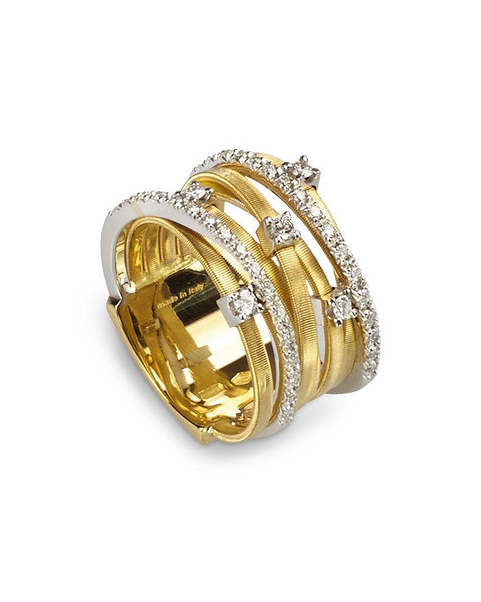 Marco Bicego - 18K Yellow Gold Goa Seven Row Ring with Diamonds
