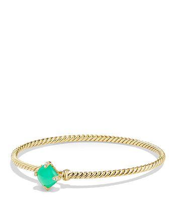 David Yurman - Châtelaine Bracelet with Chrysoprase and Diamonds in 18K Gold