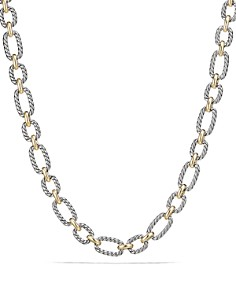 David Yurman - Cushion Chain Link Necklace with Blue Sapphires and 18K Gold
