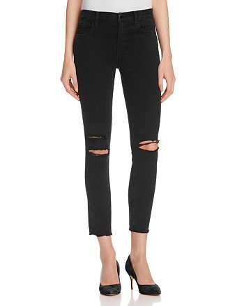 J Brand - Low Rise Skinny Jeans in Black Mercy - 100% Exclusive