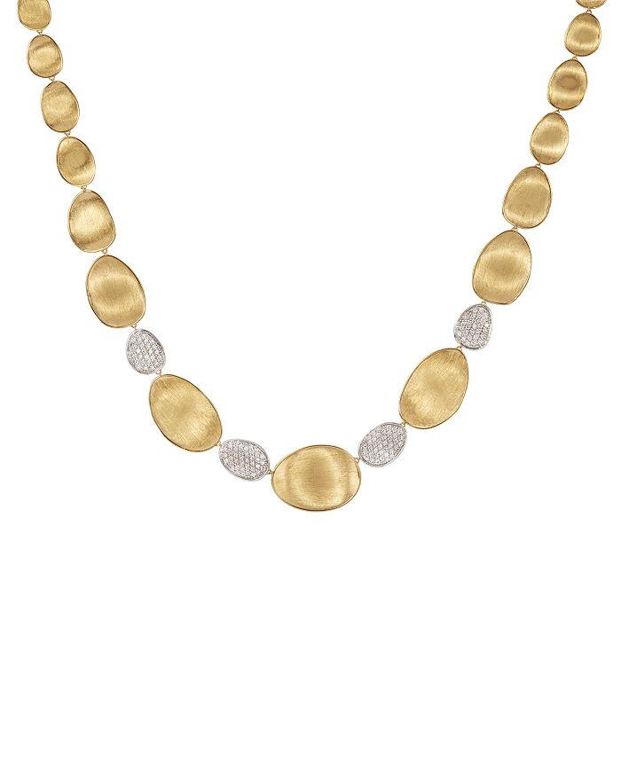 """Marco Bicego - Diamond Lunaria Graduated Collar Necklace in 18K Gold, 17.25"""""""