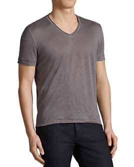 John Varvatos Collection - Linen Jersey Trim V-Neck Tee