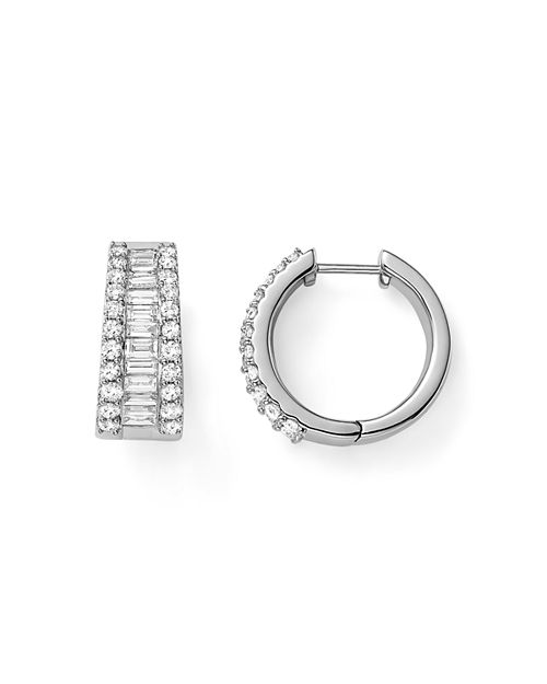 Bloomingdale S Baguette And Round Diamond Huggie Hoop Earrings In 14k White Gold 2 0 Ct