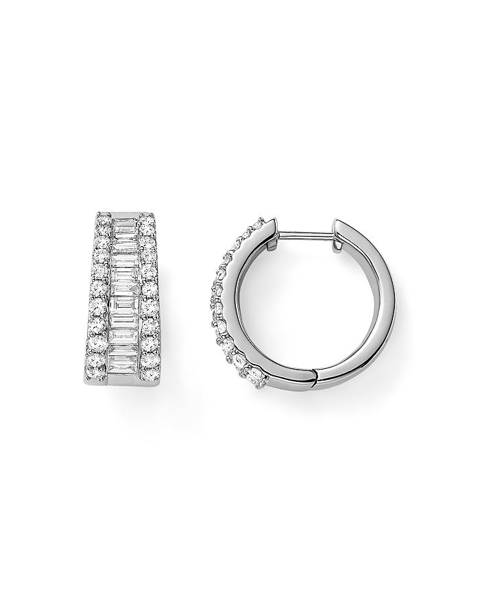 Baguette And Round Diamond Huggie Hoop Earrings In 14k White Gold 2 0 Ct T W 100 Exclusive