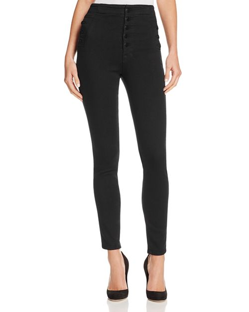 J Brand - Natasha Sky High Skinny Jeans in Seriously Black