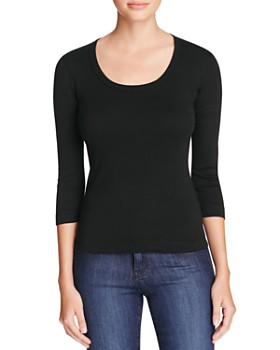 Three Dots - Scoop Neck Three Quarter Sleeve Tee