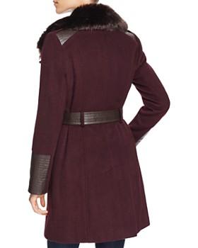 Via Spiga - Belted Faux Fur-Trim Asymmetric Coat