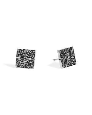 John Hardy Sterling Silver Modern Chain Stud Earrings with Black Sapphire