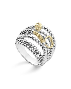 Lagos 18K Gold and Sterling Silver Domed Caviar Icon Multi Row Ring