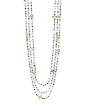 """LAGOS - 18K Gold and Sterling Silver Three Strand Caviar Icon Beaded Necklace, 22"""""""