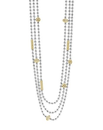 LAGOS 18K Gold and Sterling Silver Three Strand Caviar Icon Beaded