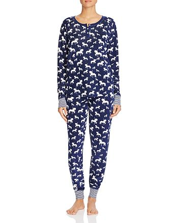 PJ Salvage - Carousel Horse Print Waffle Knit Pajama Top & Pants
