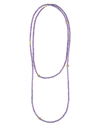 """LAGOS - 18K Gold and Amethyst Single Strand Caviar Icon Station Necklace, 34"""""""