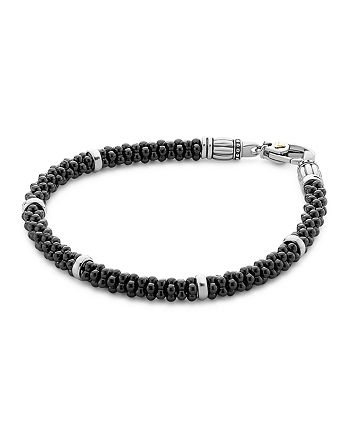 LAGOS - Black Caviar Ceramic Sterling Silver and 18K Gold Bracelet
