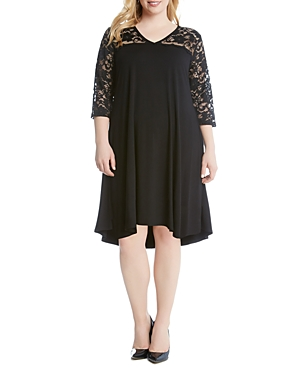 Karen Kane Plus Lace Yoke High/Low Dress