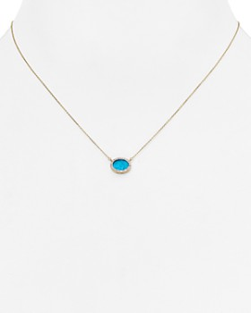 Adina Reyter - Turquoise & Diamond Oval Pendant Necklace, 15""