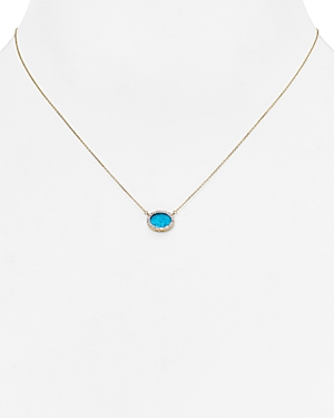 Adina Reyter Turquoise & Diamond Oval Pendant Necklace, 15