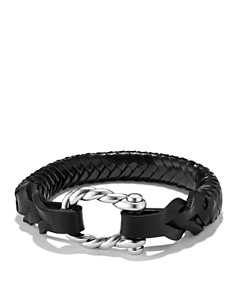 David Yurman - Maritime Leather Woven Shackle Bracelet in Black