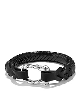 David Yurman - Maritime Leather Woven Shackle Bracelet in Black