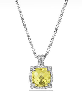 David Yurman - Châtelaine Pavé Bezel Pendant Necklace with Lemon Citrine and Diamonds