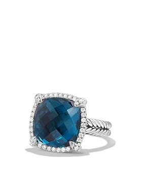 David Yurman - Châtelaine Pavé Bezel Ring with Hampton Blue Topaz and Diamonds