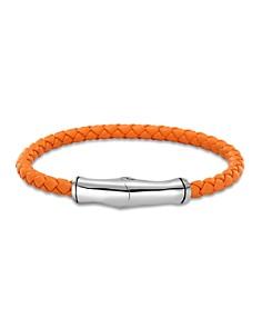 John Hardy Men's Sterling Silver Bamboo Station Bracelet in Orange Leather - Bloomingdale's_0