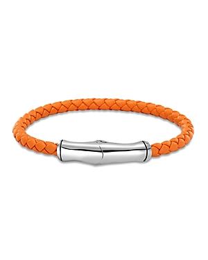 John Hardy Men's Sterling Silver Bamboo Station Bracelet in Orange Leather