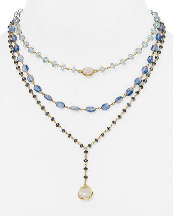 "Ela Rae - Aquamarine Multi Strand Pendant Necklace, 14"""