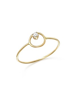 Zoë Chicco - 14K Yellow Gold Paris Small Circle Diamond Ring