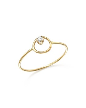 Zoë Chicco - 14K Yellow Gold Paris Small Circle Diamond Ring