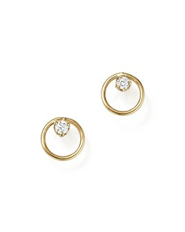 Zoë Chicco - 14K Yellow Gold Paris Small Circle Diamond Earrings