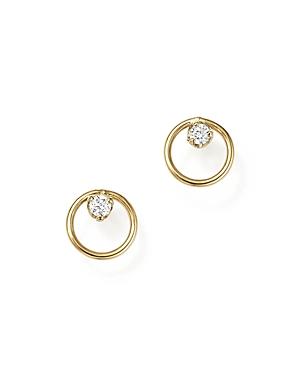 Zoe Chicco 14K Yellow Gold Paris Small Circle Diamond Earrings