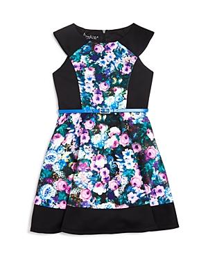 Pippa  Julie Girls Floral  Solid Neoprene Dress  Sizes 714