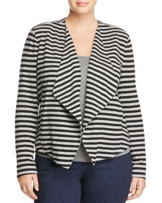 TART 'Veronicka' Stripe Knit Open Front Jacket in Black/ Heather Grey Stripe