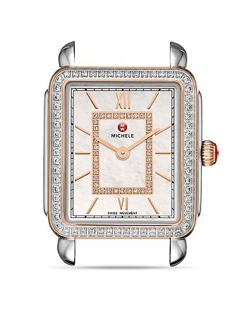 MICHELE - Deco II Rose Gold Diamond Dial Watch Head, 26 x 27.5mm