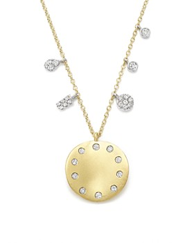 """Meira T - 14K White and Yellow Gold Curved Disc Pendant Necklace, 16"""""""