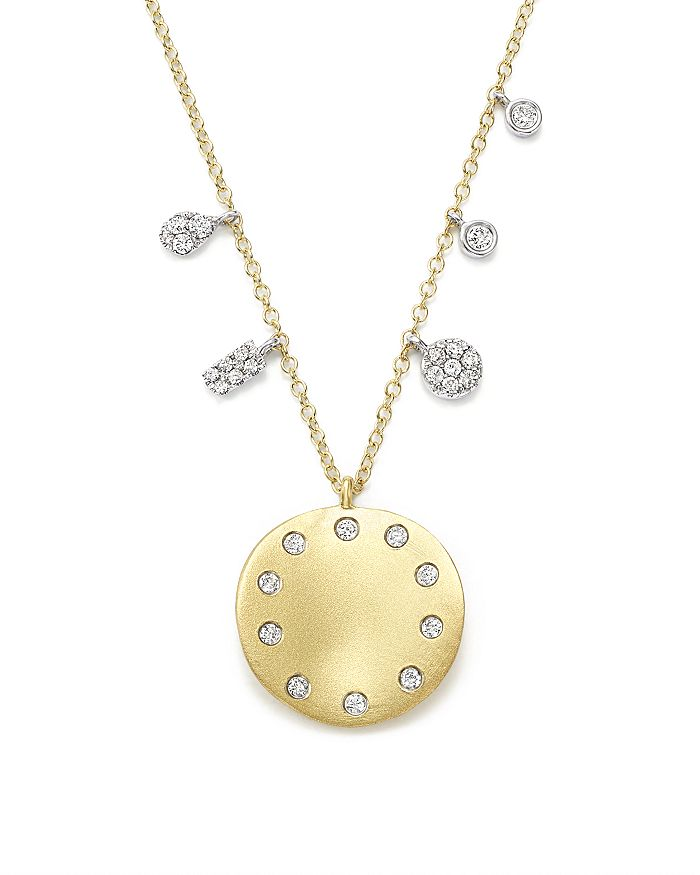 Meira T - 14K White and Yellow Gold Curved Disc Pendant Necklace, 16""