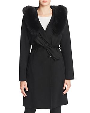 Sofia Cashmere Fur Hood Wool & Cashmere Wrap Coat