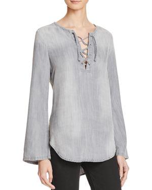 Bella Dahl Lace-Up Chambray Shirt thumbnail