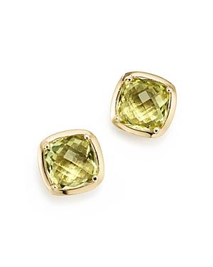 Lemon Quartz Square Stud Earrings in 14K Yellow Gold - 100% Exclusive