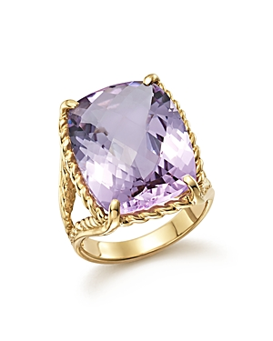 Lavender Amethyst Rectangular Statement Ring in 14K Yellow Gold - 100% Exclusive
