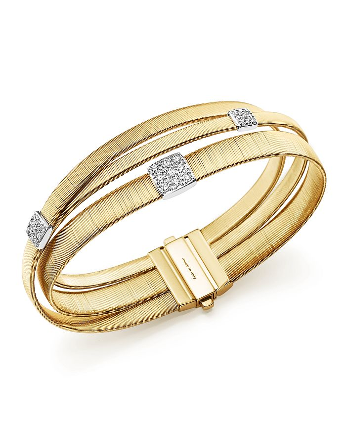 Marco Bicego - 18K Yellow Gold Masai Three Strand Crossover Diamond Bracelet