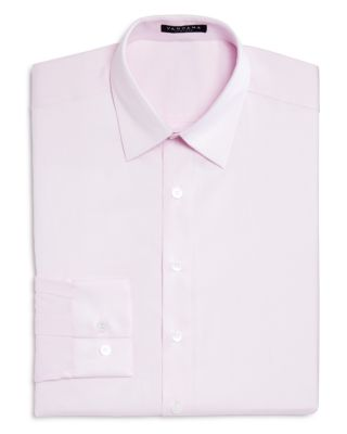 VARDAMA Lafayette Solid Stain Resistant Regular Fit Dress Shirt in Pink